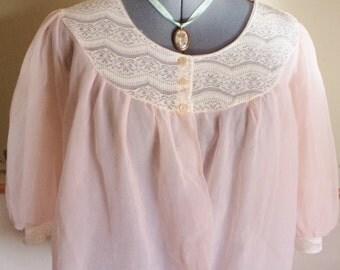 vintage bedjacket, pale pink lingerie, pink bedjacket, vintage lingerie, vintage underwear, pink lace jacket, nylon bedjacket,