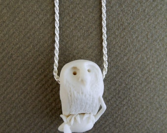 Catch me if you can - owl caught a mouse - porcelain pendant on a sterling silver rope chain - necklace