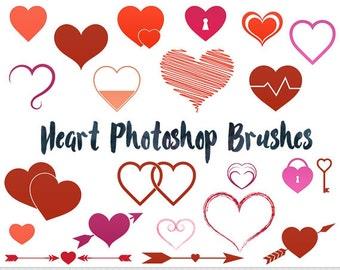 Heart Photoshop Brushes Love Photoshop Brushes Valentine Photoshop Brushes Silhouettes Brushes Heart Digital Stamp Wedding Photoshop Brushes