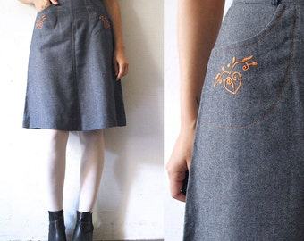 70s denim skirt. a line skirt. soft denim skirt with embroidery - xs, small