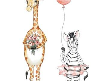 Giraffe and Zebra - 10x8 Watercolor Print