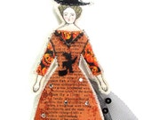 Halloween Witch Small Flat Doll Ornament Handmade Modern Vintage Look Fabric Doll Decoration Embellished  Textile Art Doll Fabric Ornament