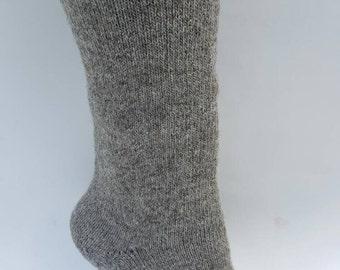 Alpaca Socks, Alpaca Wool Socks, Heavy Weight Crew Sock, Hunting Socks, Outdoor Alpaca Socks, Natural Grey Color Sizes S-XL