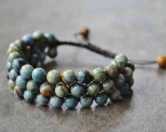Natural African Blue Opal Bracelet, Gemstone Cuff, Macrame Bracelet, Boho Jewelry, Friendship Bracelet