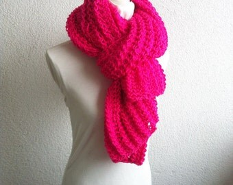 Women Pink Scarf, Rectriangle Shawl, Neckwarmer, Scarf,Knitted Shawl, pink, cozy scarf , scarves