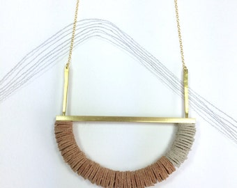 MELLOR - Leather, Gold and hammered Brass Pendant - Natural and Ecru