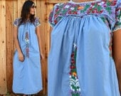 Vintage 80s MEXICAN Floral EMBROIDERED Maxi Dress S