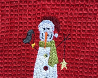Towel, Holiday Waffle Weave Christmas Red Snowman Towel, Christmas Holiday Dish Towels Snowman Towel