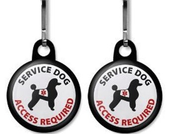 Poodle SERVICE DOG ADA Access Required Medical Alert 2-Pack of Zipper Pull Charms (Choose Size and Backing Color)