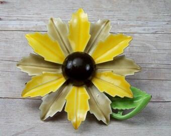 Vintage 1960's 70's Enamel Flower Brooch, Orange Mustard Yellow Green Pin, Estate Costume Jewelry, Sunflower, Brooch Bouquet Wedding Jewelry