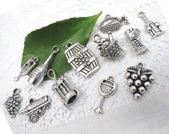 12 WINE THEME Charms - Assorted, Each One Different - Antique Silver - Collection #3 - Grapes, Wine Bottle, Glass, Barrel, Basket, Corkscrew
