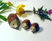 Hedgehog toys, woodland creatures, fairy garden, miniature hedgehogs, mini sculptures, ceramic hedgehogs, set of 3, tiny toys, hedgehog baby