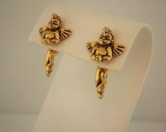 Vintage Gold plated 3D EARlusion brand Cherub angel earrings