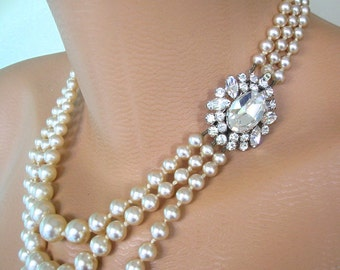 PEARL CHOKER, Statement Necklace, Pearl Necklace, Mother of the Bride, Great Gatsby Jewelry, Wedding Necklace, Bridal Jewelry, Art Deco