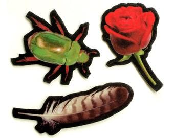 Photorealistic Felt Patch Set, hawk feather, red rose, scarab beetle, iron on, sew on, applique, wool felt