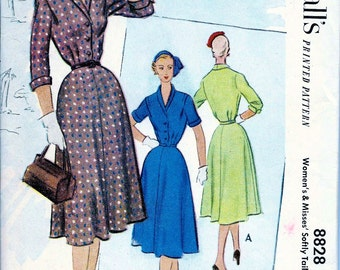 UNCUT * 1950's  McCall's Pattern 8828  - Misses' Softly Tailored High Fashion Dress  // Size 18, Bust 36