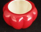Vintage Czechoslovakia  Glossy Lipstick Red Ribbed Vase