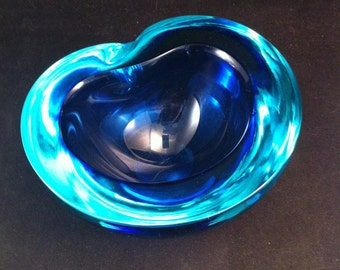 Mid Century Murano Blue Glass Bowl,  Art Glass Blue Bowl Mid Century Look Glass ,Archimede Seguso,Elegant Blue Bowl**USA ONLY**
