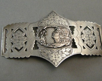 Antique Sterling Silver Belt Buckles, Sash Buckles, Edwardian Silver,  Antique Woman's Clothing,Victorian  Sash Buckles, Antiques USA ONLY