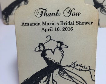 Bridal Shower Thank You Tags Favor Tags Vintage Style Dress Set of 6 ..Gift Tags