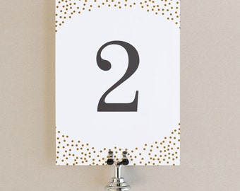 Table Numbers Template - DIY Printable  | Instant DOWNLOAD | Gold Dots | Flat 5x7 | Editable Colors | Mac or PC | Word & Pages