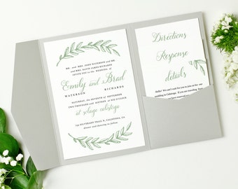 Pocket Wedding Invitation Template - INSTANT DOWNLOAD | Woodland Wreath Script | Edit in Word or Pages | Print it Yourself | Mac & PC