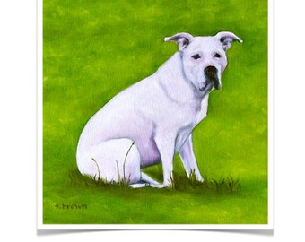 dogs. fine art print. pitbulls. pit bull rescue. animals. white pitt. pets. puppies. valentine.  print of original painting. traciebrownart