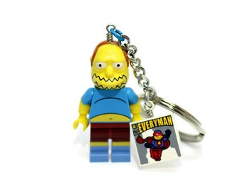 Comic Book Guy Keychain - made from The Simpsons LEGO ® Minifigure