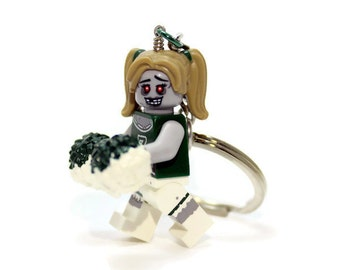 Zombie Cheerleader Keychain - made from Series 14 LEGO (r) Minifigure, Zombie Keychain