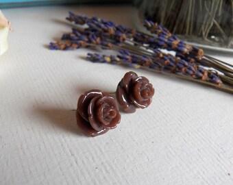 SALE - Chocolate Fondue, Handmade Silver Steel Stud Earrings, Brown Rose Bud, Flower, Surgical Steel Posts, Large Rosebud, Jewelry