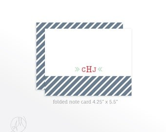 Personalized Folded Note Cards, Custom Monogrammed Stationery Set, Personal Thank You Notes, Notecard set