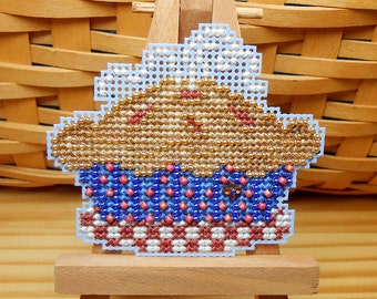 American Pie Beaded Cross Stitch Ornament, Pin, or Magnet - Free U.S. Shipping