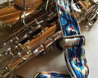 "Saxophone Neck Strap, Blue Ikat, 1.5"", Brass Hardware"