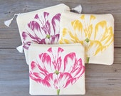 Makeup Bag, Cosmetic Bag, Floral Bag, Zipper Pouch, Zipper Bag, Valentines Day Gift, Bridesmaid Gifts, Tulip Bag, Gift for Her, Jannysgirl