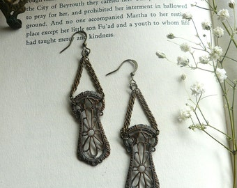 Art Nouveau Filigree Earrings - Vintage Brass Earrings - Oxidized Brass, Alphonse Mucha Jewelry - Chandelier Earrings, Bohemian Boho Jewelry