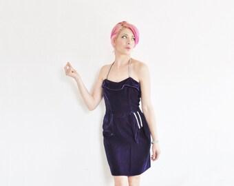 royal purple velvet cocktail dress . mod crystal rhinestone bling .extra small.xs .sale