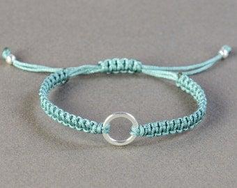 Sterling Silver Karma bracelet . Friendship .Macrame woven bracelet