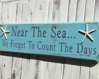 Beach Sign Near The Sea With Starfish Nursery Nautical Decor