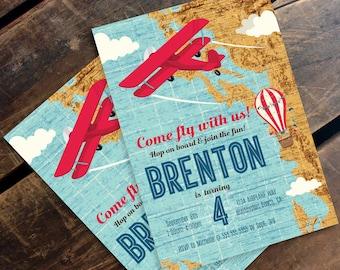 Retro Airplane, Hot Air Balloon, Aviator Birthday Invitation - Map Plane Party Invite, 1st Birthday - DIY Instant Download PDF Printable