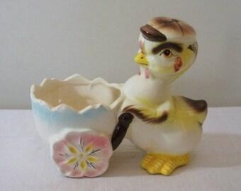 Vintage Baby Bird in Cap with Egg Cart Planter
