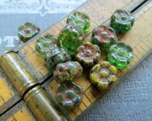 NEW MIXED FOREST Picasso Petals . Czech Pressed Glass Flower Beads . 7 mm (20 beads)