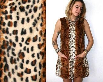 Furry Leopard Dress / Fuzzy Cheetah Mini Dress Sz XS S M L
