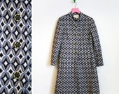 Vintage 1960s Stewarts of Baltimore Blue and Black Mod Print Jacket Size M-L