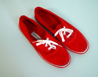 Vintage 1970s Red Terry Cloth Grasshopper Sneakers