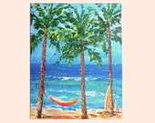 Beach painting with hammock, surfboard, palm trees, colorful beach painting, tropical turquoise water, 20x16 beach art painting