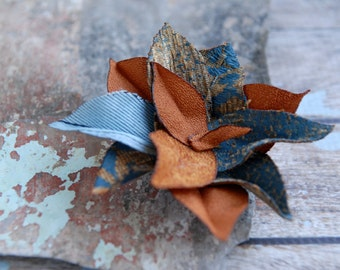 Handmade fabric flower brooch in blue and copper, OOAK flower pin, dress pin, TAGT team