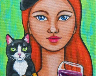 Woman in Beret with Tuxedo Cat and French Wine Original Painting
