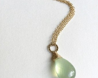 Prehnite Gold Necklace / Clairvoyant Necklace
