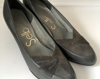 Vintage Shoes Women's 80's Selby, Pumps, Grey, Suede, Heels (Size 6 1/2)