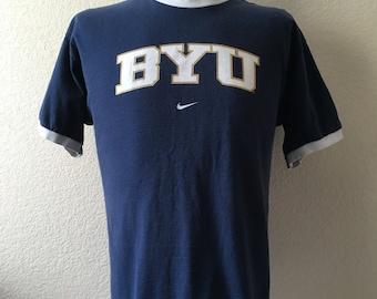 Vintage Men's 90's Nike, BYU, T Shirt, Navy Blue, Cotton, Short Sleeve (L)